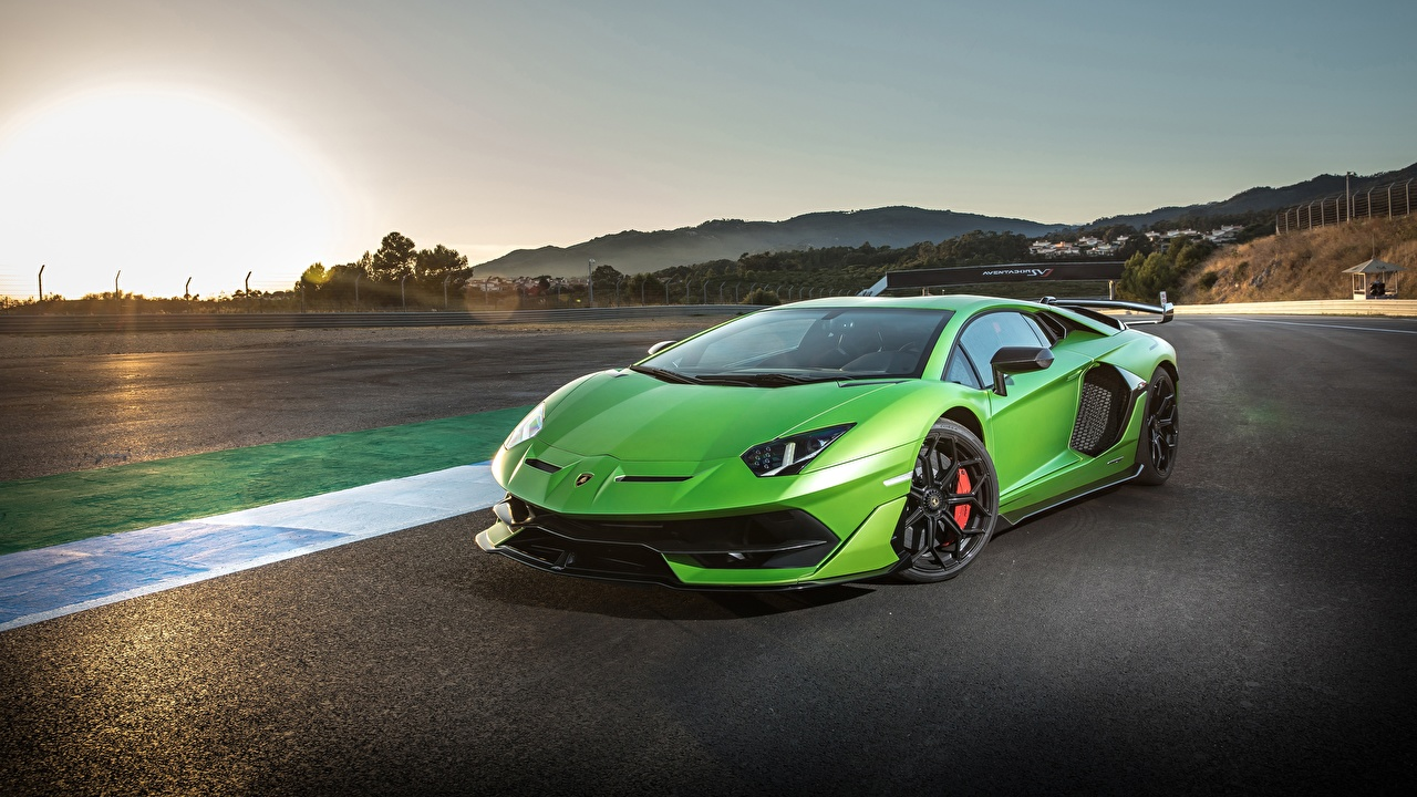 Wallpaper Lamborghini 2018 Aventador SVJ lime color Cars Yellow green auto automobile