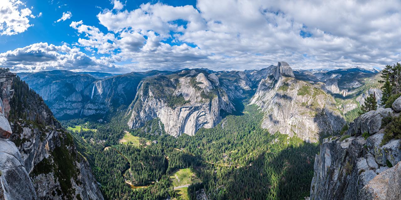 Foto Yosemite Kalifornien USA Panorama Glacier Point Natur Felsen Gebirge Parks Landschaftsfotografie Wolke Vereinigte Staaten Panoramafotografie Berg Park