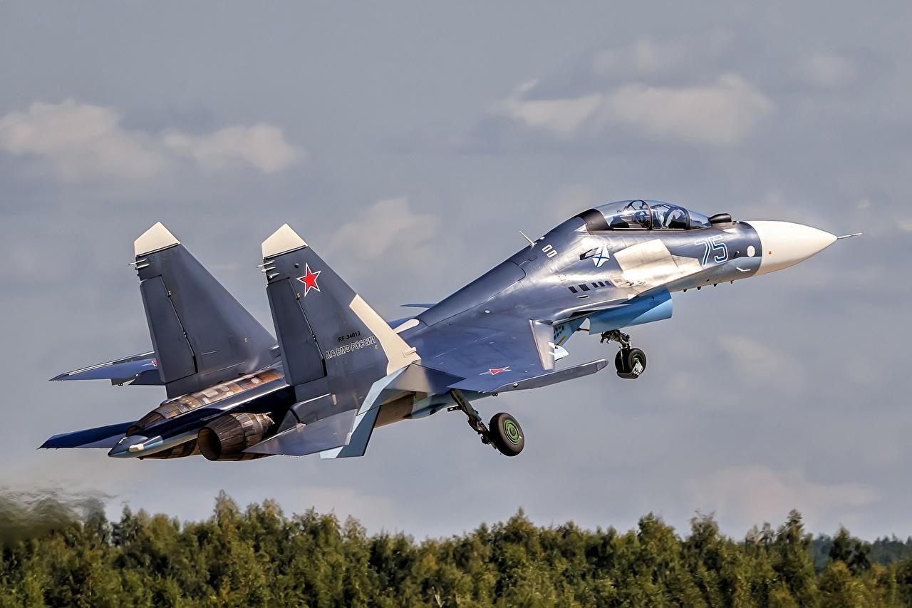 Bilder Soukhoï Su-30 Jagdflugzeug Flugzeuge Start Luftfahrt Russische Su-30SM Luftfahrt starten abheben russisches russischer