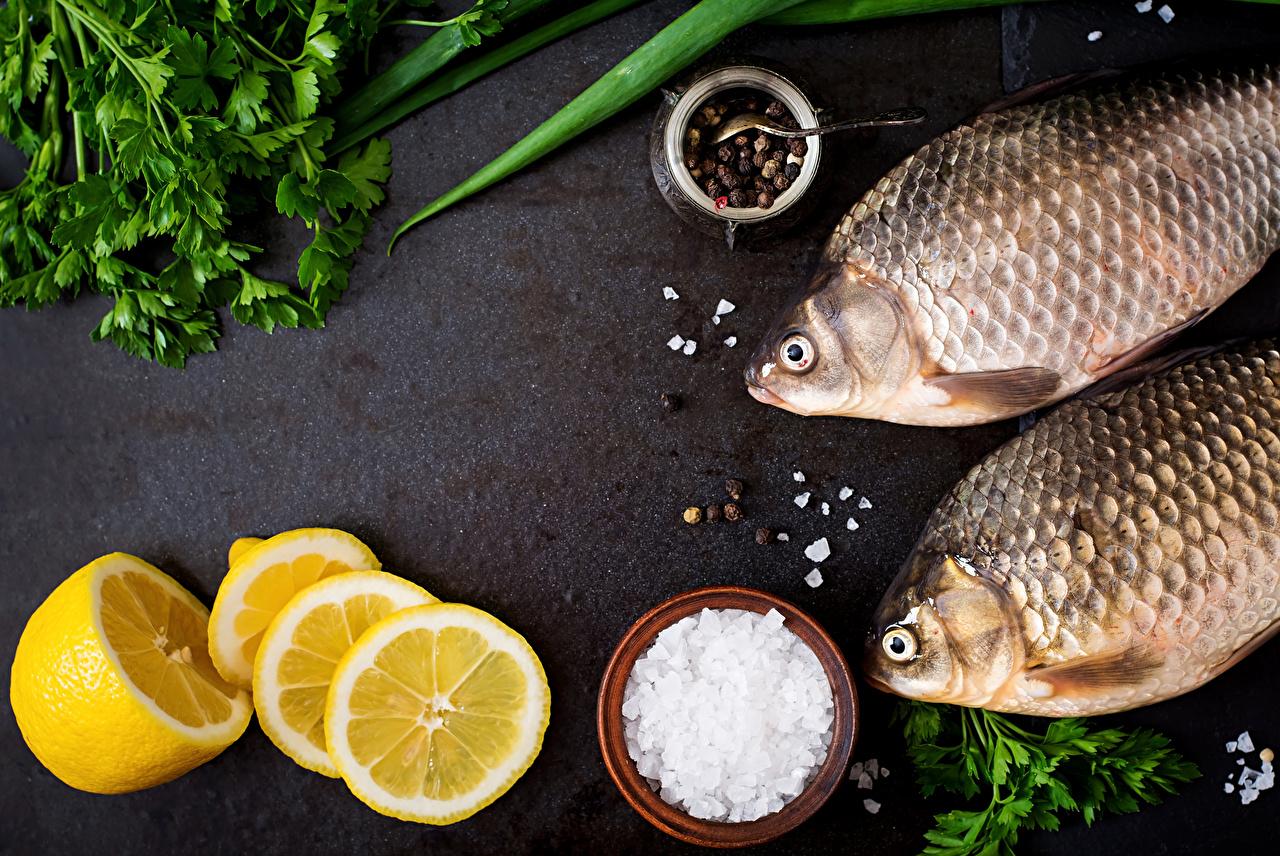 Desktop Wallpapers Black pepper Salt Lemons Fish - Food Food Vegetables