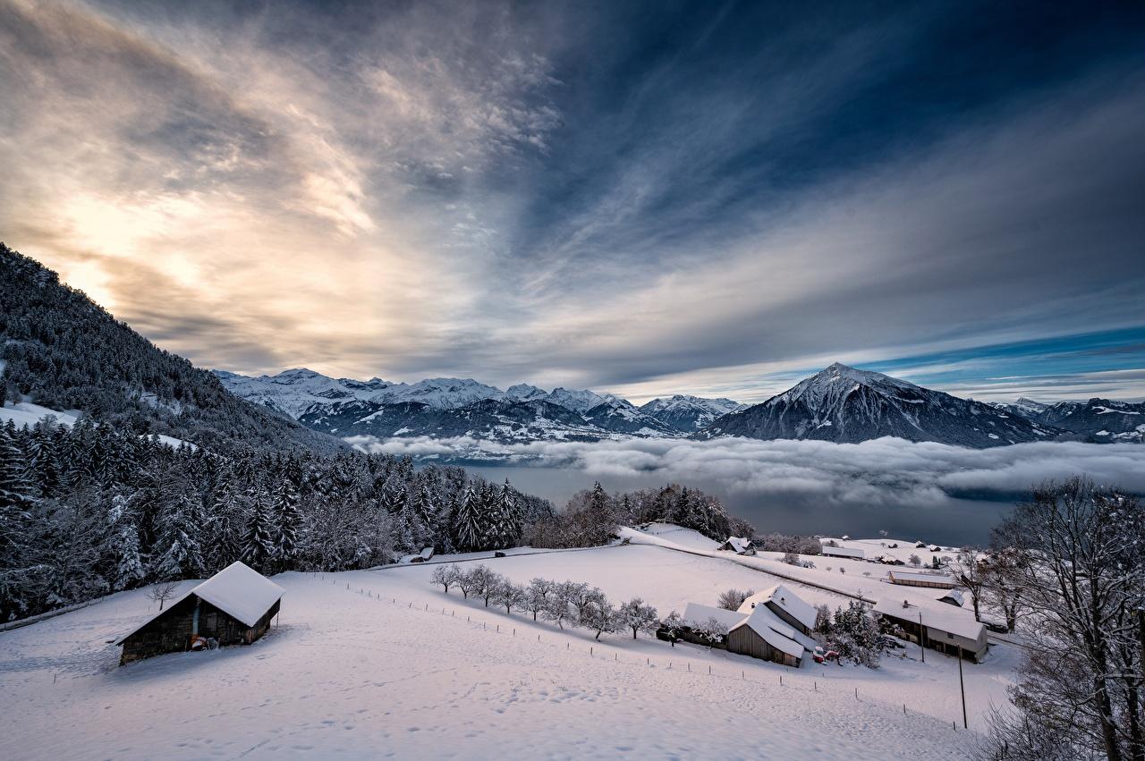 Photo Alps Switzerland Thunersee Winter Nature mountain Sky Lake Snow Mountains