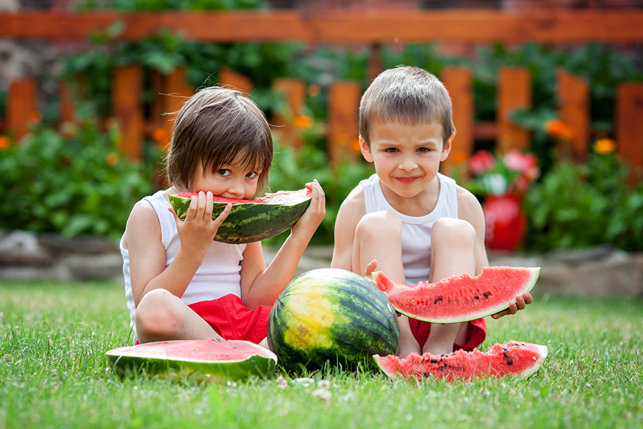 Picture Boys child Two Piece Watermelons Grass Children 2 pieces