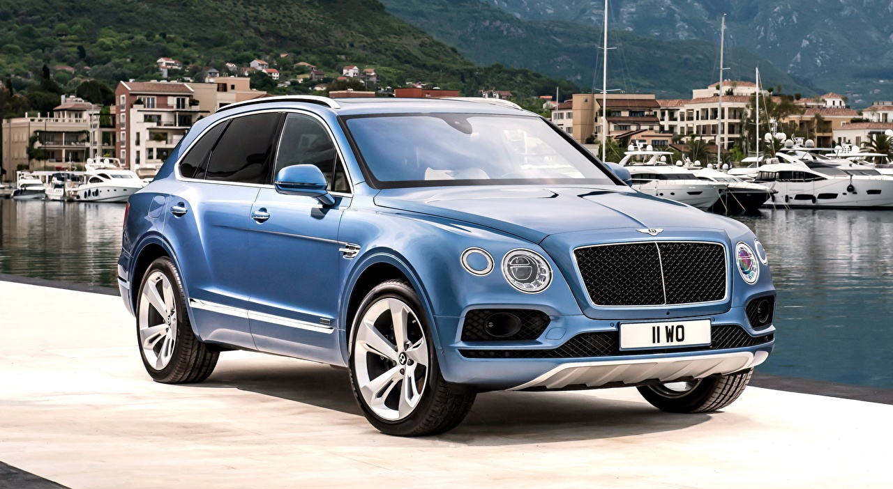 Image Bentley Crossover luxurious Blue Cars Metallic CUV Luxury expensive auto automobile