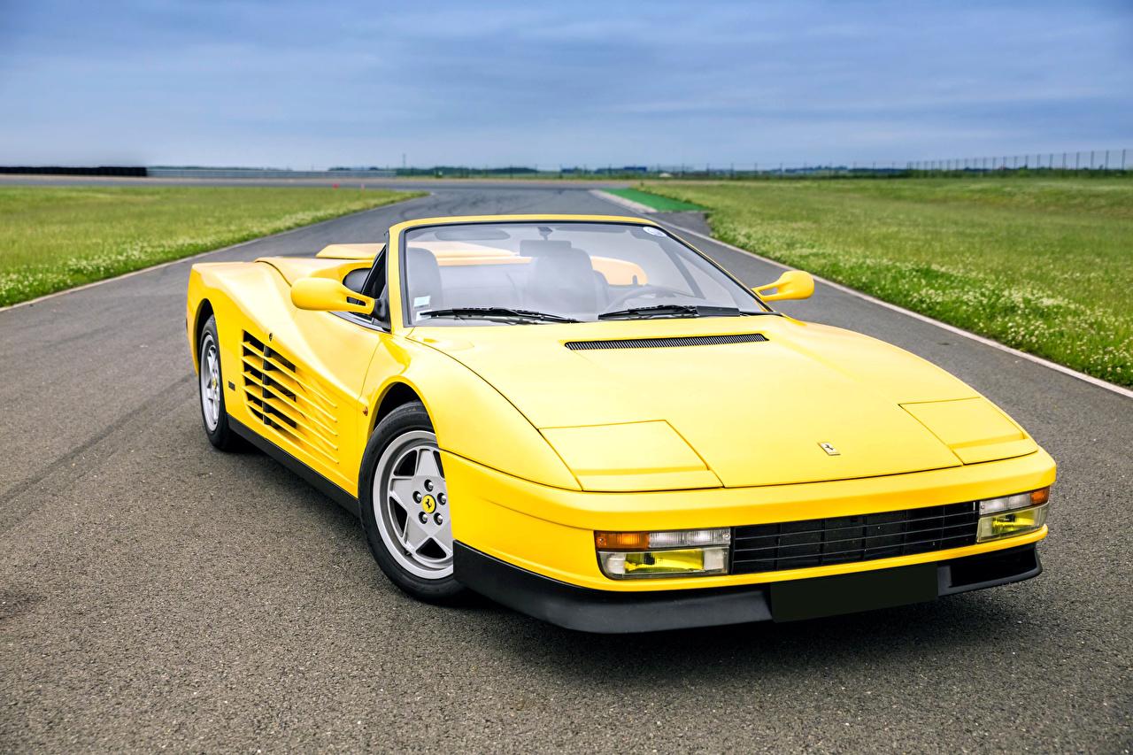 Photos Ferrari 1988-92 Lorenz Convertible Retro Yellow auto Cabriolet vintage antique Cars automobile