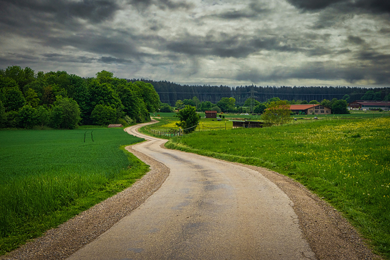 Desktop Wallpapers Bavaria Germany Hausen Nature Roads forest Grass Houses Forests Building