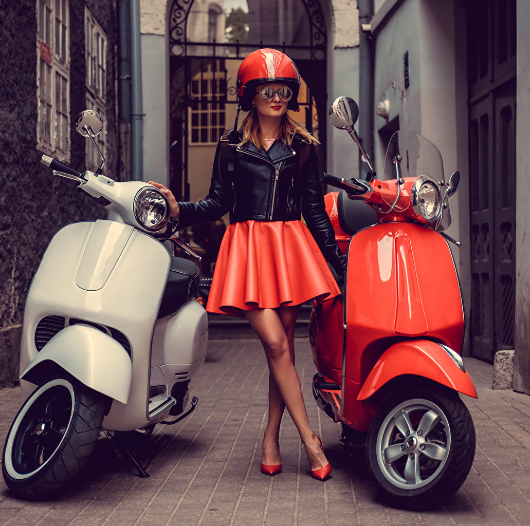 Pictures Skirt Scooter Helmet young woman eyeglasses Girls female Glasses
