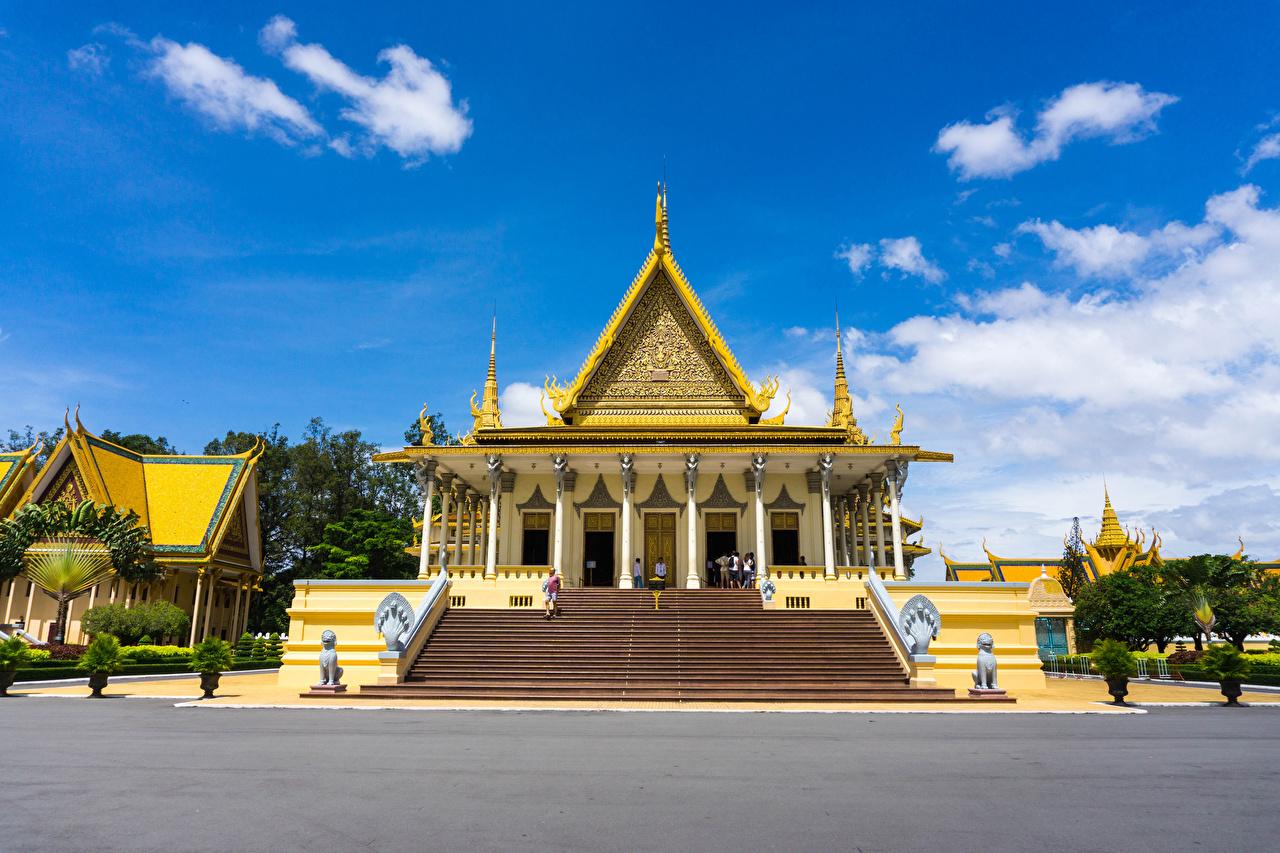 、彫刻、Cambodia Royal Palace、宮殿、デザイン、階段、都市、