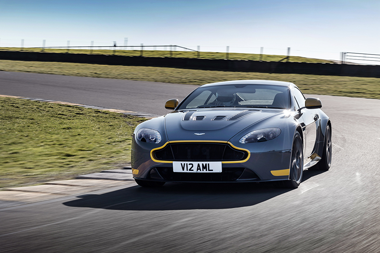 Desktop Wallpapers Aston Martin V12 Vantage S Sport-Plus Pack riding automobile moving Motion driving at speed Cars auto