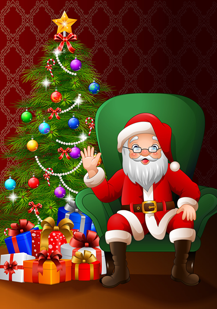 Wallpaper New year Santa Claus New Year tree Gifts Hands Balls Wing chair Vector Graphics  for Mobile phone Christmas Christmas tree present Armchair