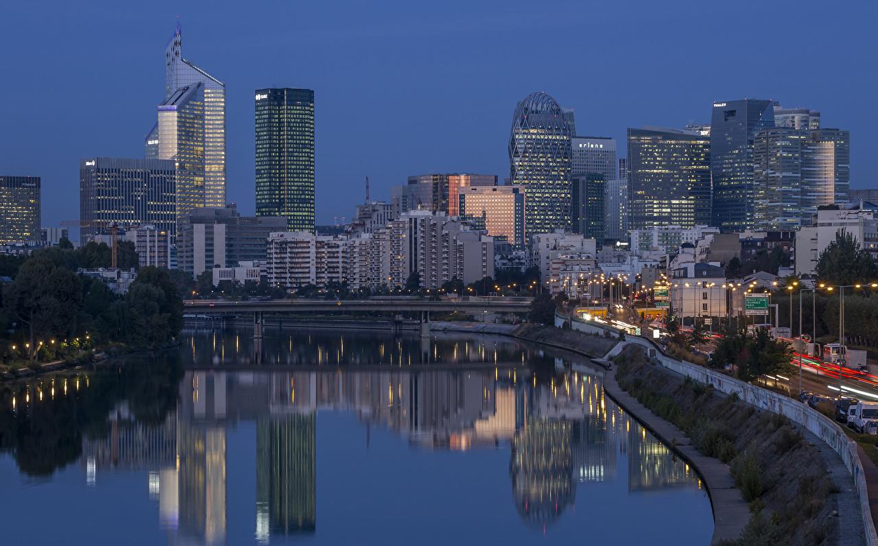 Fotos Frankreich Levallois-Perret Brücken Abend Flusse Haus Städte Brücke Fluss Gebäude
