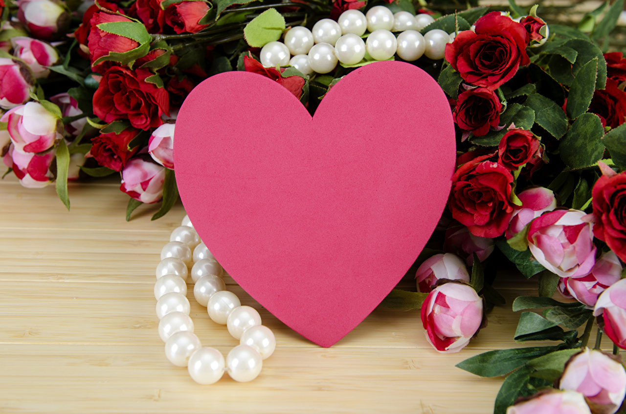 Wallpaper Valentine's Day Pearl Heart Roses paeony Flowers boards Jewelry rose peony flower Peonies Wood planks