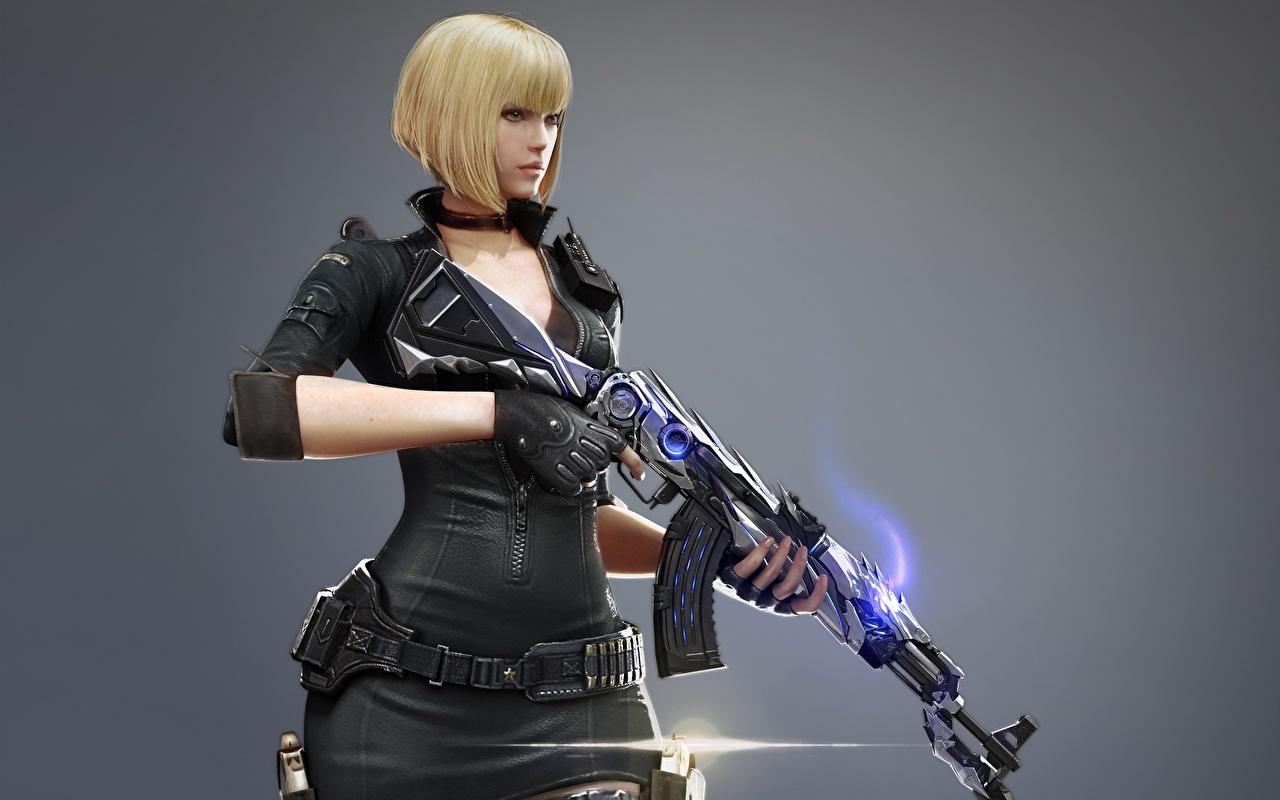 Bilder von Kalaschnikow Blond Mädchen Fantasy Mädchens Grauer Hintergrund AK 47 Blondine
