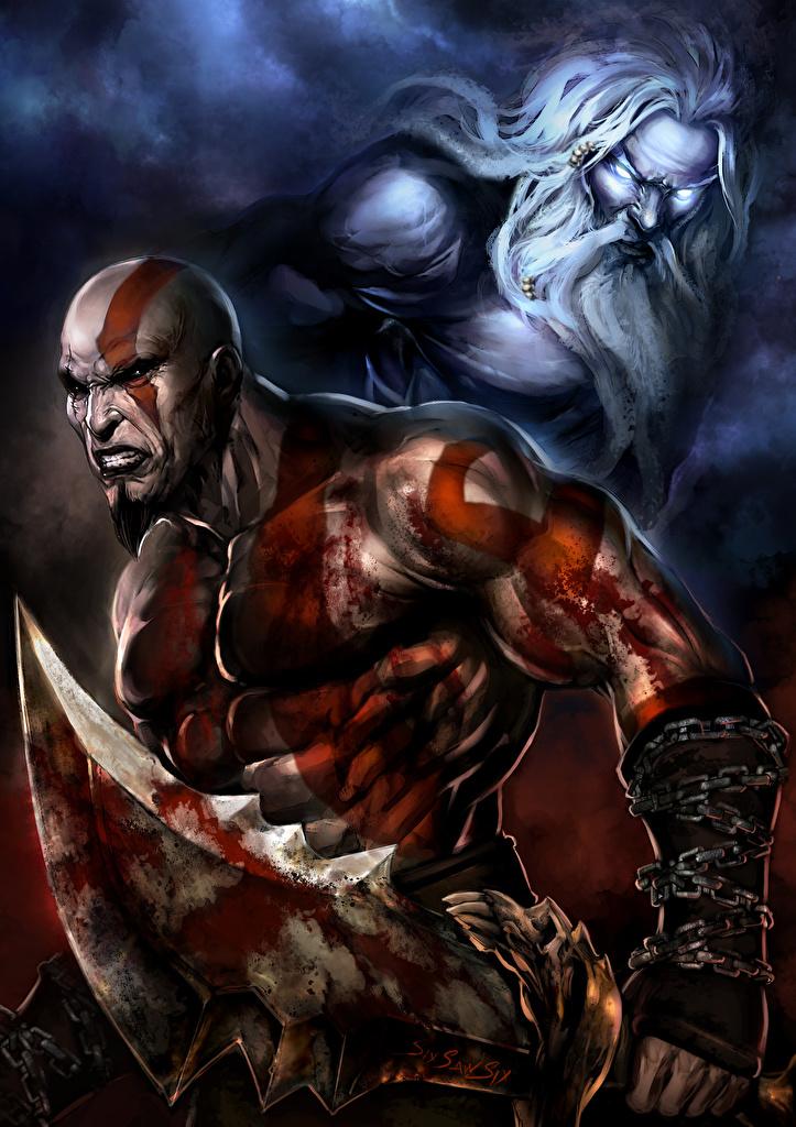 Desktop Wallpapers God Of War Swords Men Warriors Fantasy Games
