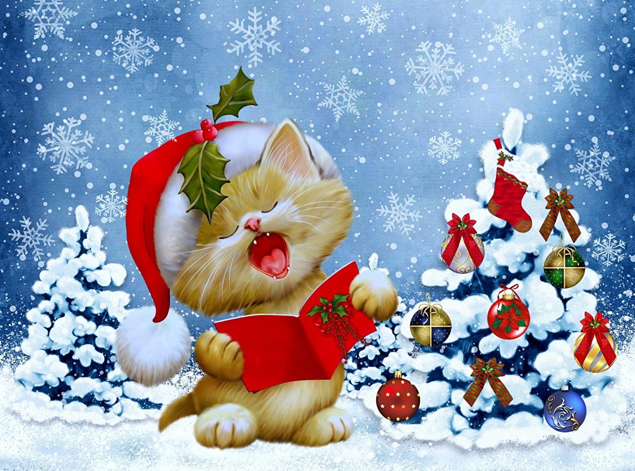 Weihnachtsbaum Gezeichnet.Bilder Von Katzenjunges Neujahr Mütze Tannenbaum Schneeflocken