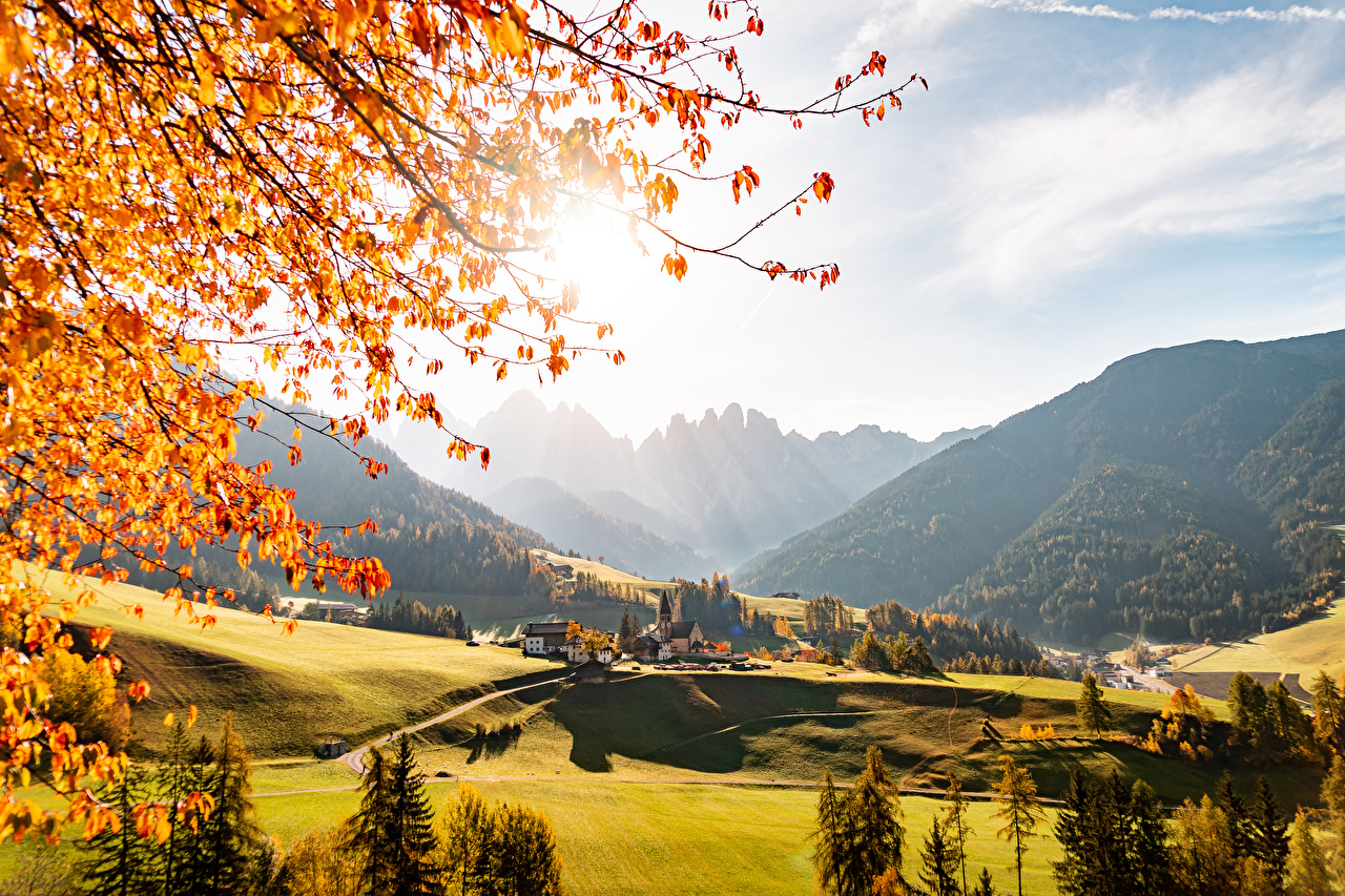 Pictures Italy Village St. Magdalena Village, Val di Funes Valley Autumn Nature Mountains Forests mountain forest