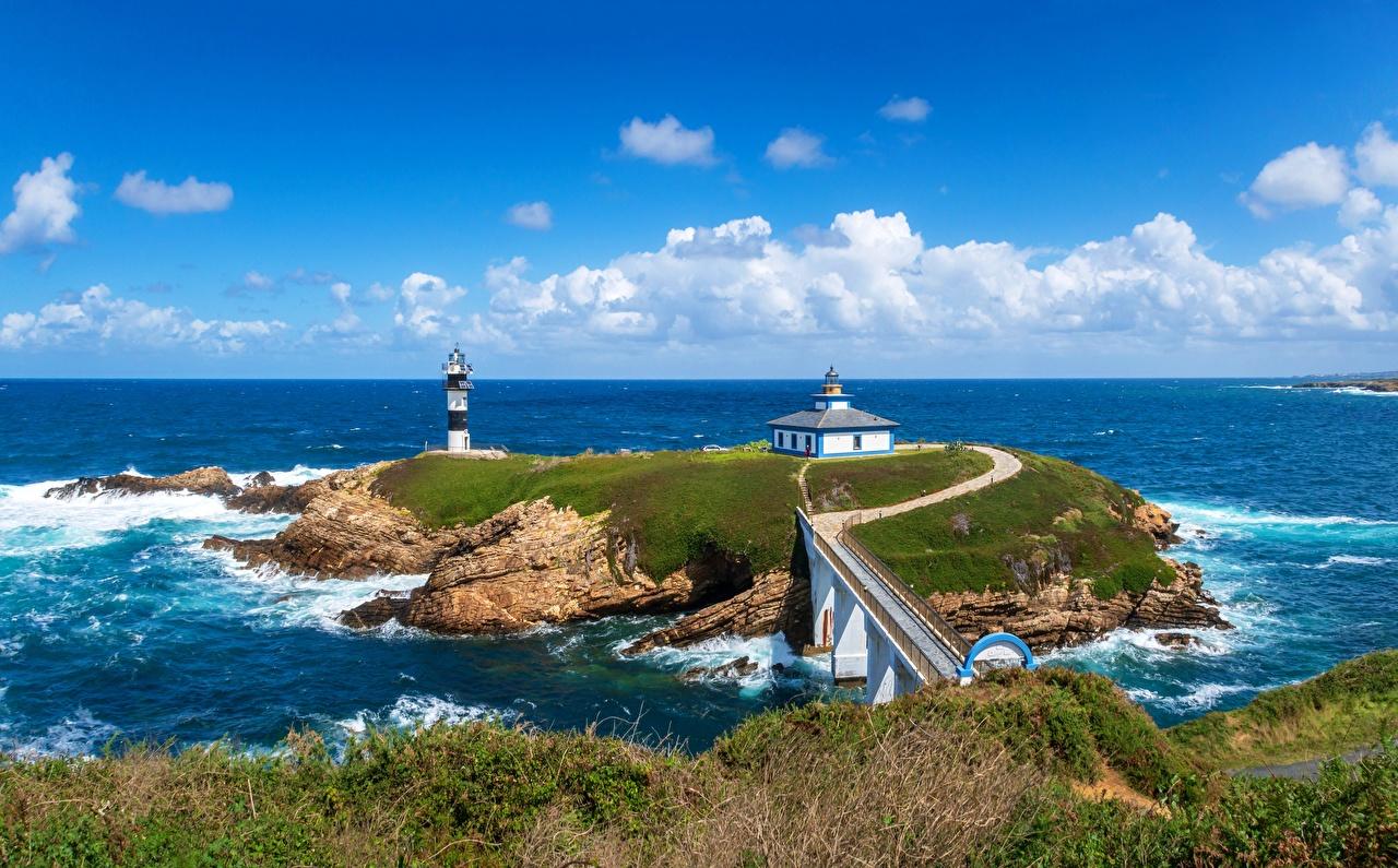 Photo France Faro Illa Pancha Sea Nature Lighthouses Coast Clouds