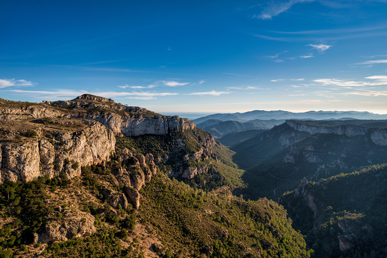 Picture Spain Catalonia Valley Cliff Nature mountain Sky Rock Crag Mountains