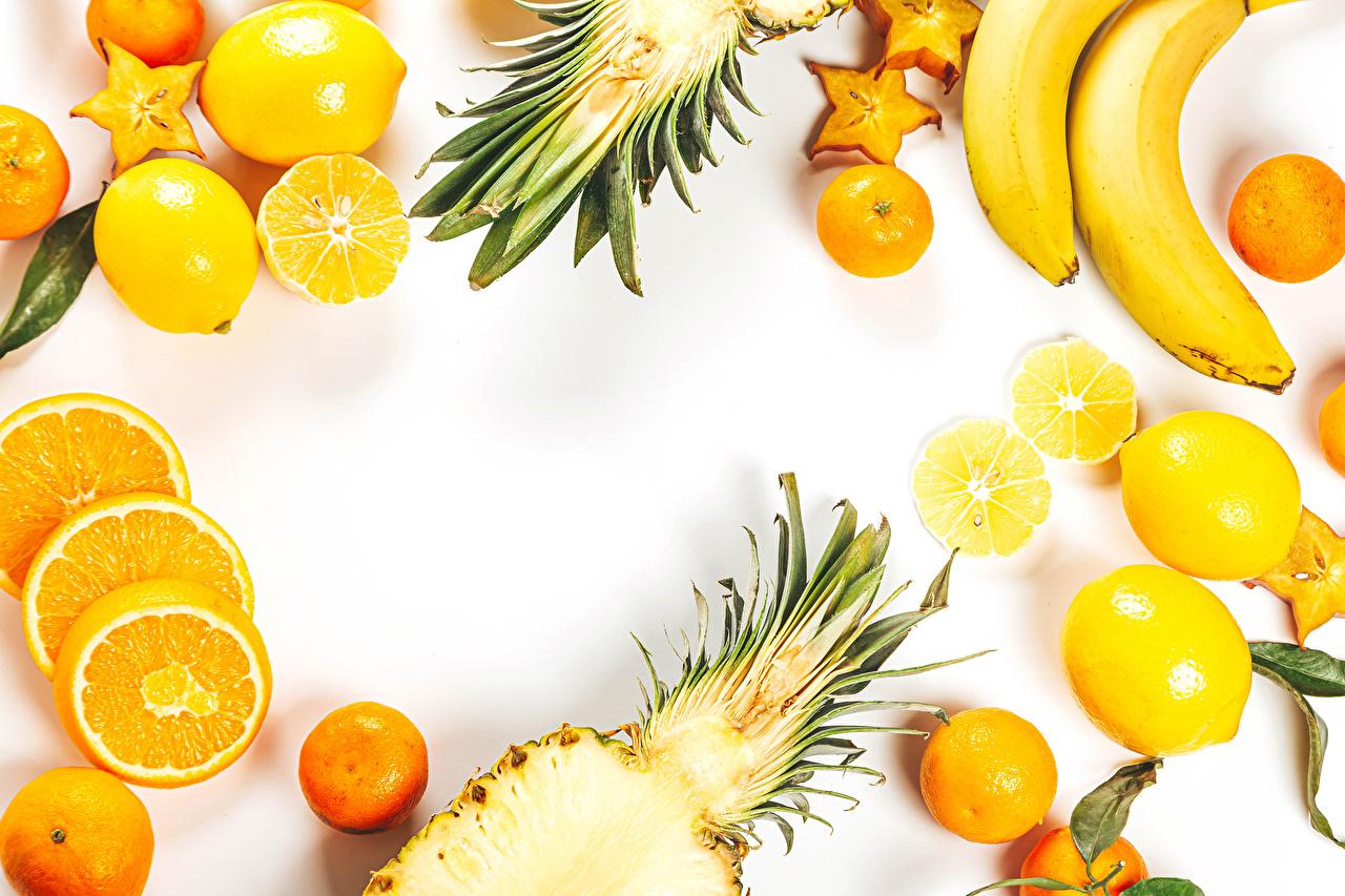 Wallpaper Mandarine Orange fruit Lemons Bananas Pineapples Food Fruit White background