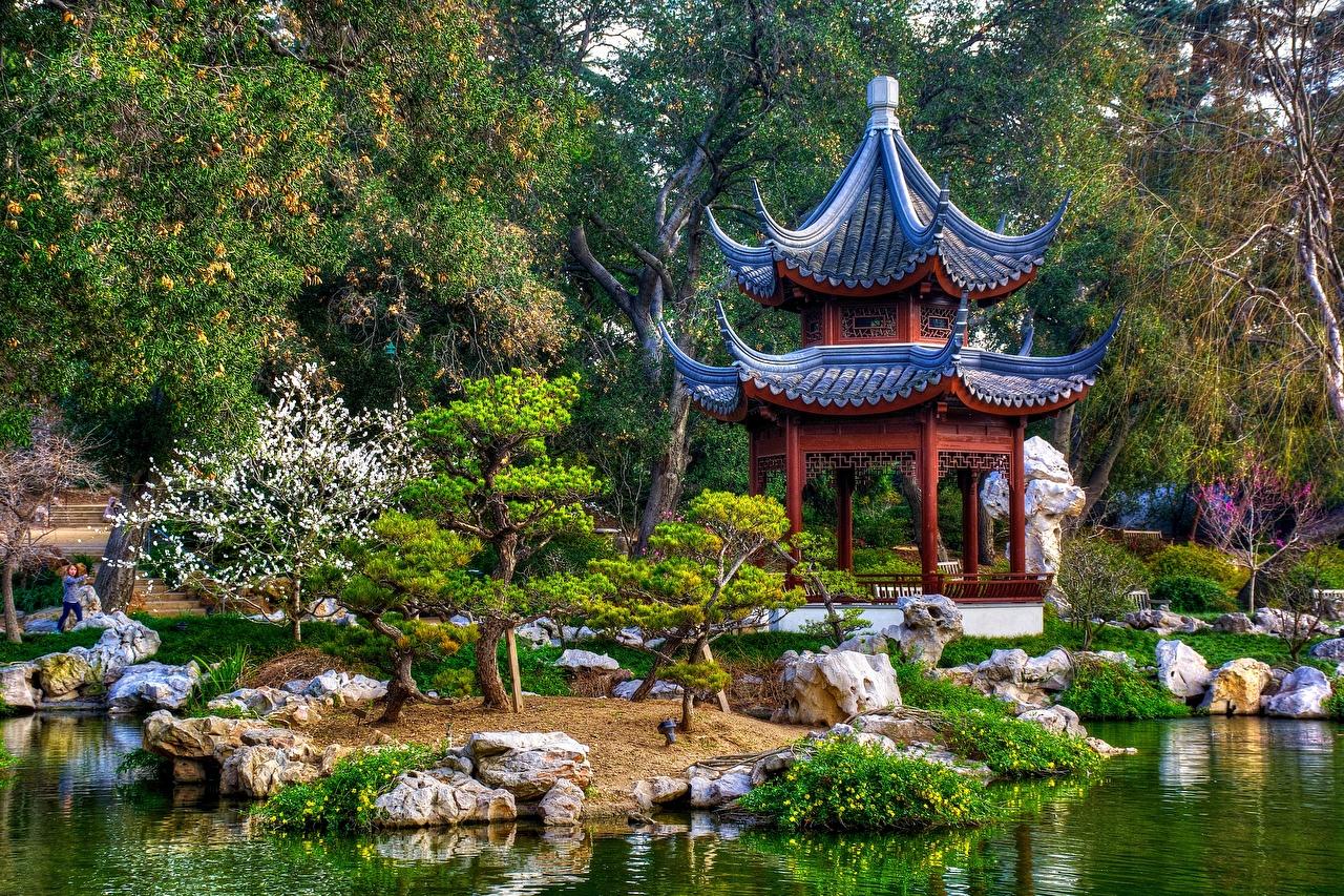 Bilder von Kalifornien USA Japanisch San Marino Natur Park Garten Pagoden Vereinigte Staaten