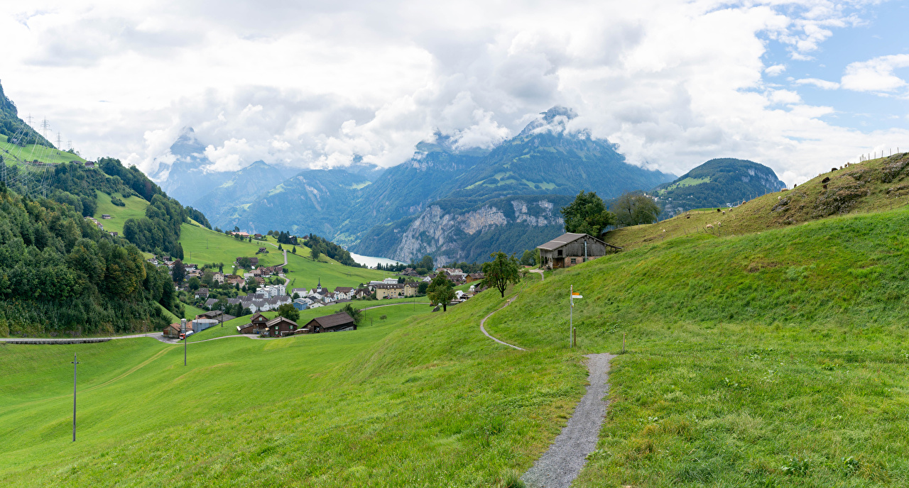 Photo Alps Switzerland Village Ingenbohl Trail Nature Mountains Meadow Building path mountain Grasslands Houses