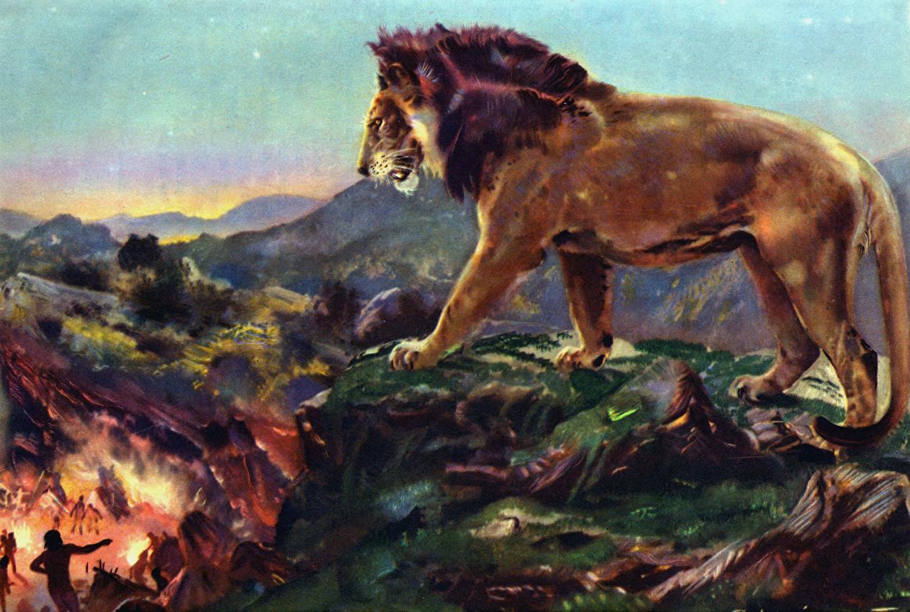 ,遠古動物,狮,Zdenek Burian,Lion overlooking camp,,動物,