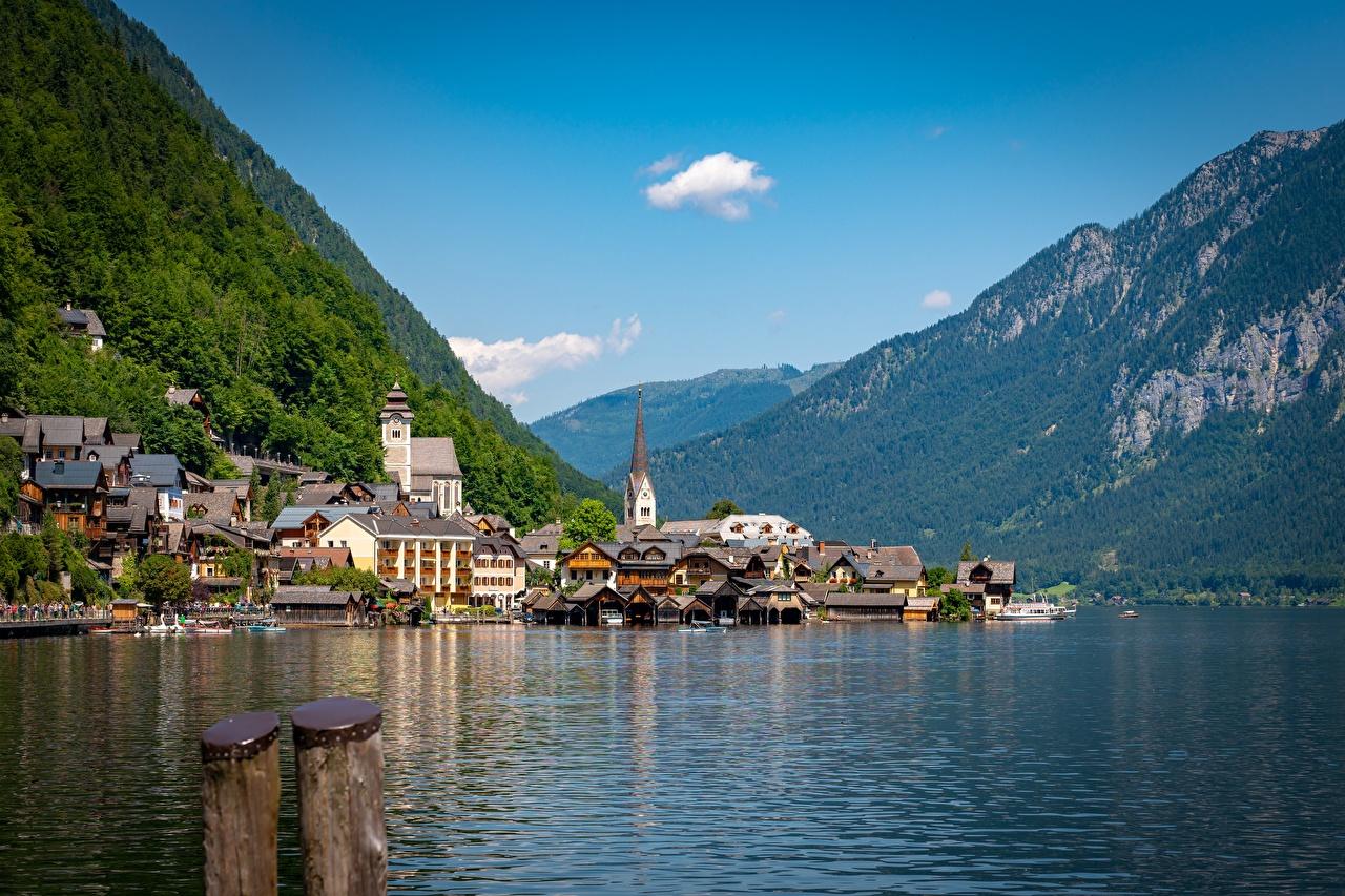 Fotos Alpen Österreich Lake Hallstatt Natur Gebirge See Gebäude Berg Haus