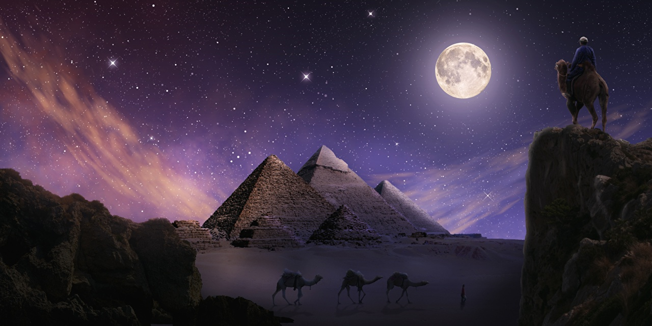 Images Camels Egypt Giza Crag Desert Fantasy Moon Pyramid Night