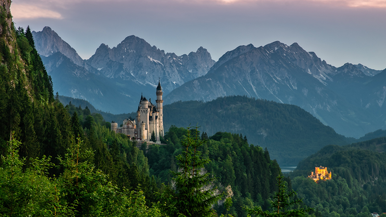 Images Bavaria Neuschwanstein Alps Germany Nature castle mountain Castles Mountains