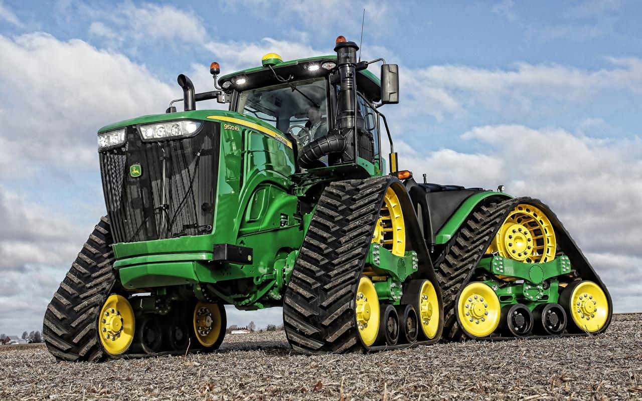 Desktop Hintergrundbilder traktoren John Deere 9520 RX Grün Vorne Traktor