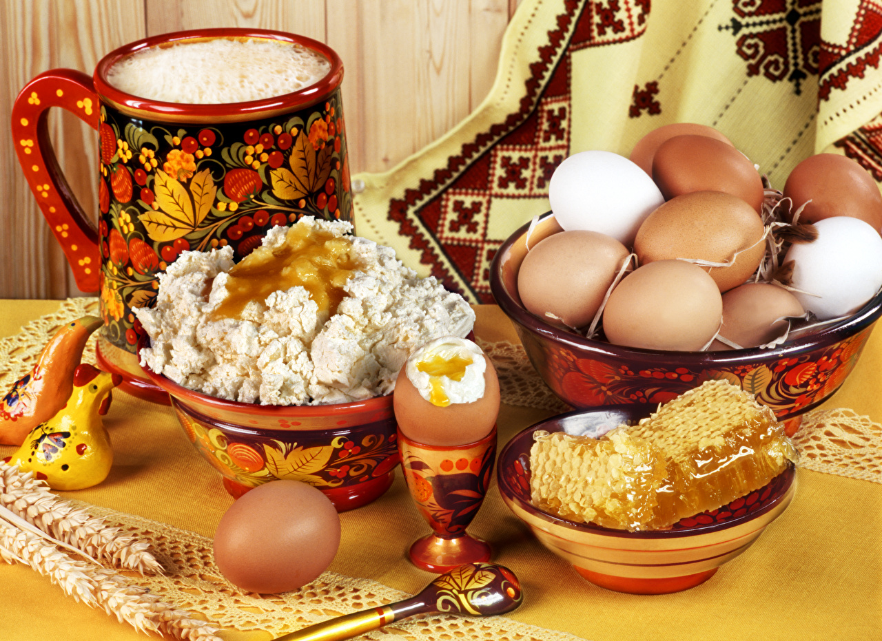 Pictures egg Honey Quark curd cottage farmer cheese Bowl Food Still-life Eggs