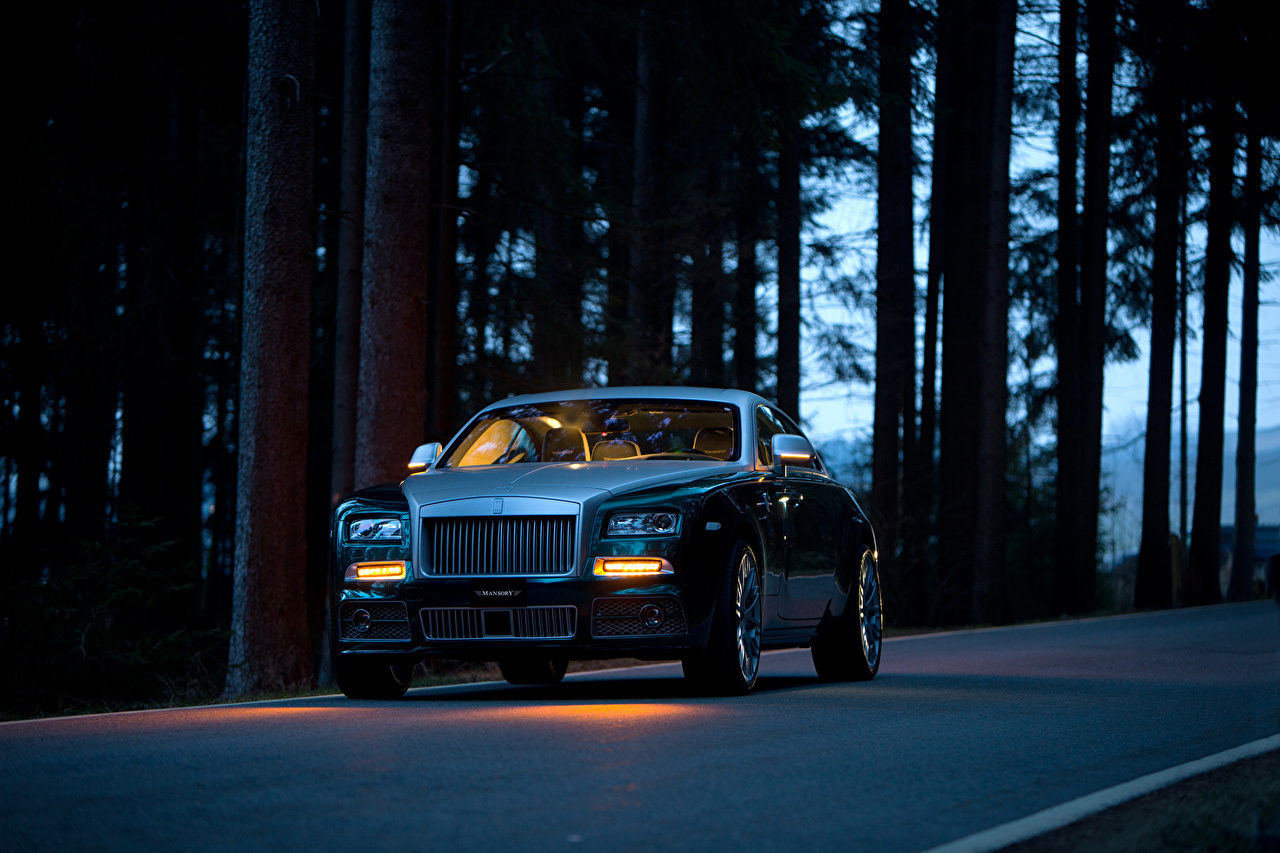 Pictures Tuning Rolls-Royce 2014 Wraith (Mansory) luxurious auto Night Headlights Luxury expensive Cars night time automobile