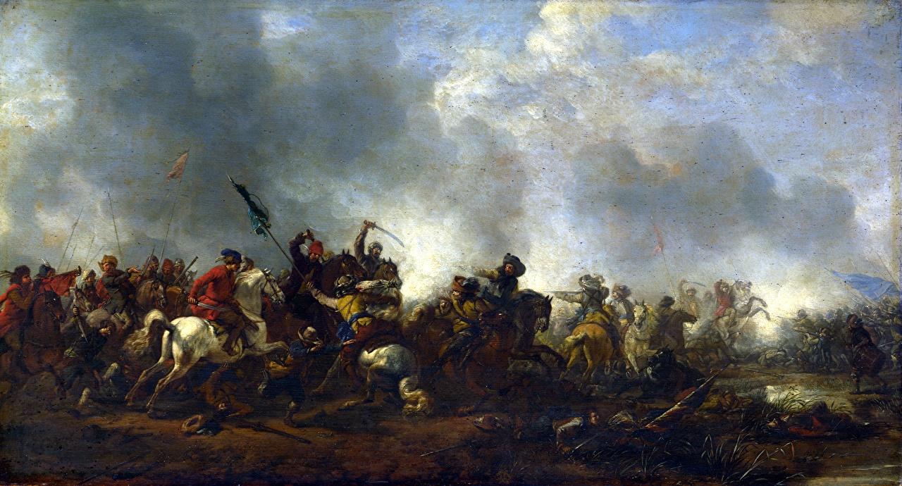 Tapeta Konie Wojna żołnierz Philips Wouwermans, Cavalry attacking Infantry obraz koń Żołnierze Malarstwo
