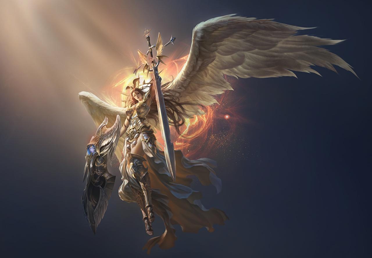 Bilder League of Legends Schwert Rüstung Krieger Flügel victoria Fantasy Mädchens Spiele Engeln LOL