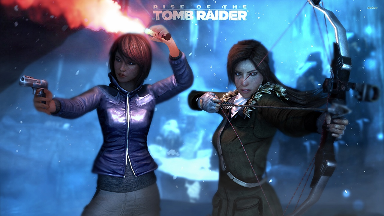 Photos Rise of the Tomb Raider Archers Lara Croft Samantha Nishimura Two young woman vdeo game 2 Girls female Games