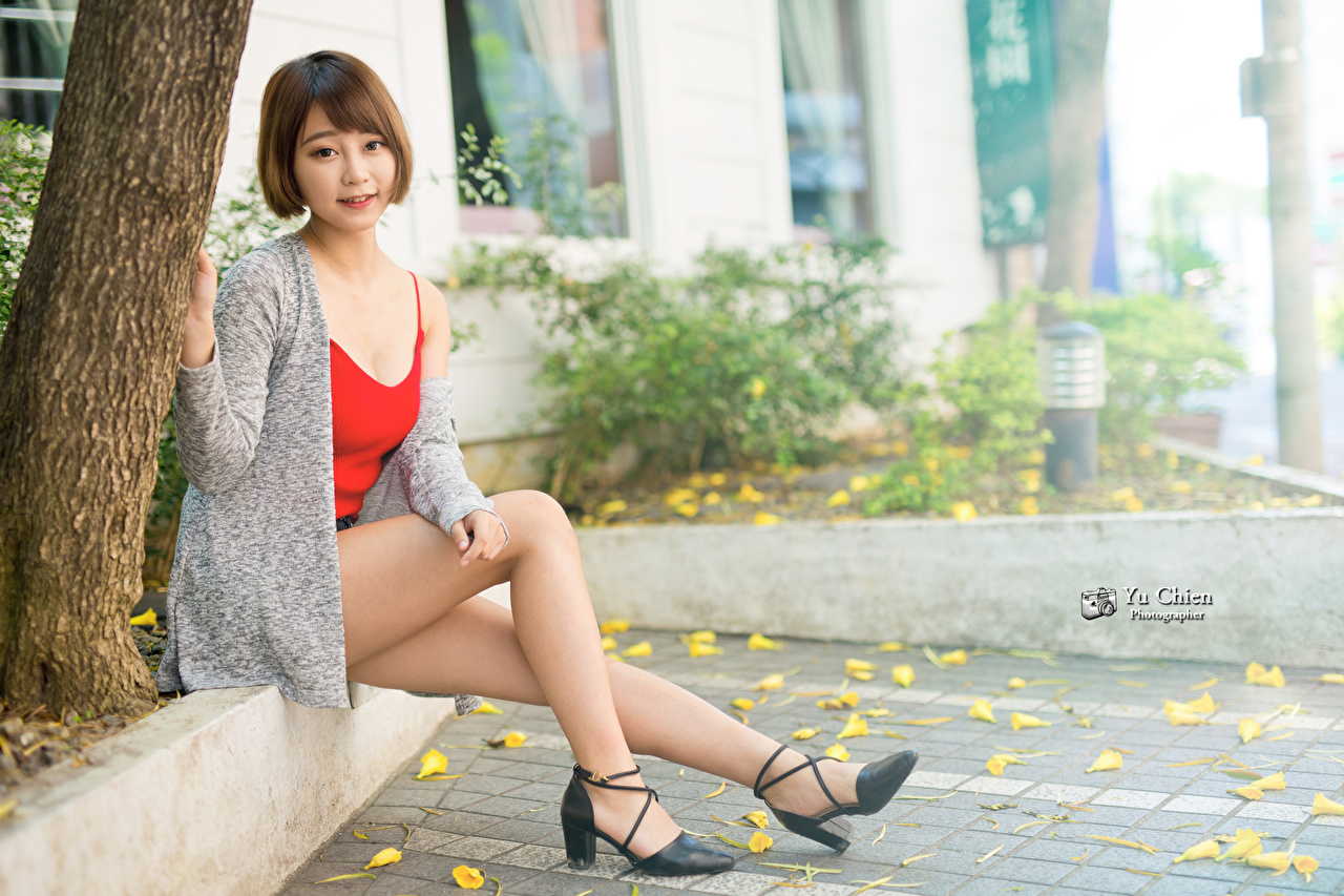 Image Brown haired female Legs Asiatic Sitting Stilettos Girls young woman Asian sit high heels