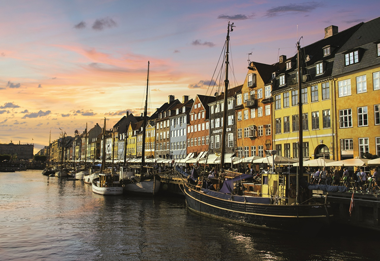 Wallpaper Copenhagen Denmark Pier Evening Cities Building Berth Marinas Houses