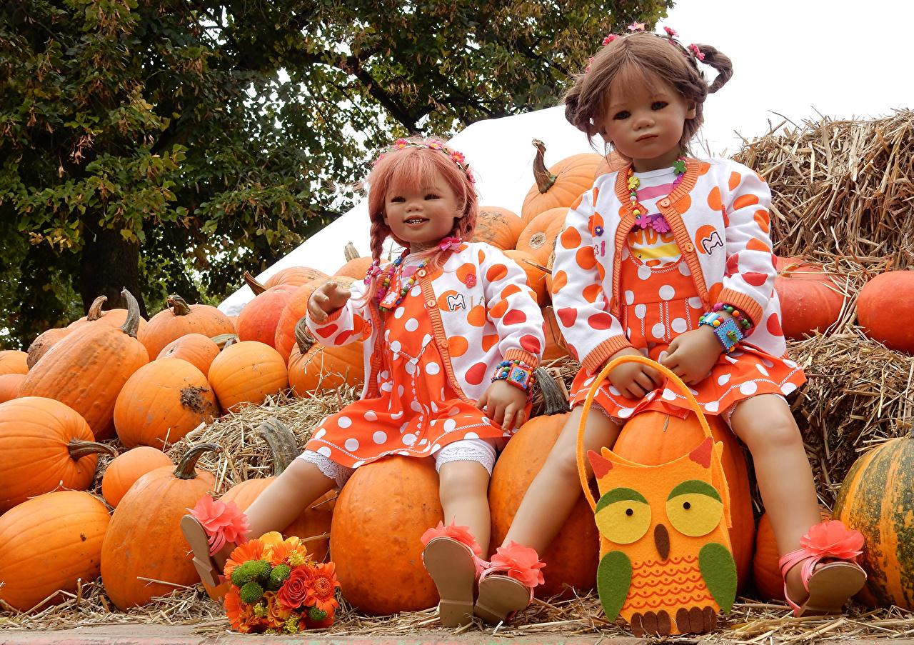 Images Two Parks Little girls Grugapark Essen Doll  Nature Bouquets Pumpkin 2 park bouquet