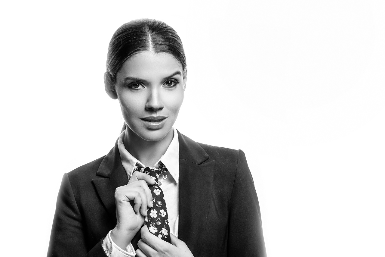 Achtergronden bureaublad Model Karol Stropdas jonge vrouw Zwart wit Kijkt Colbert jas Jonge vrouwen zwart witte