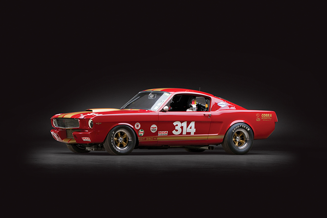 Image Ford Tuning mustang shelby gt350h race car Red Retro Side auto vintage antique Cars automobile
