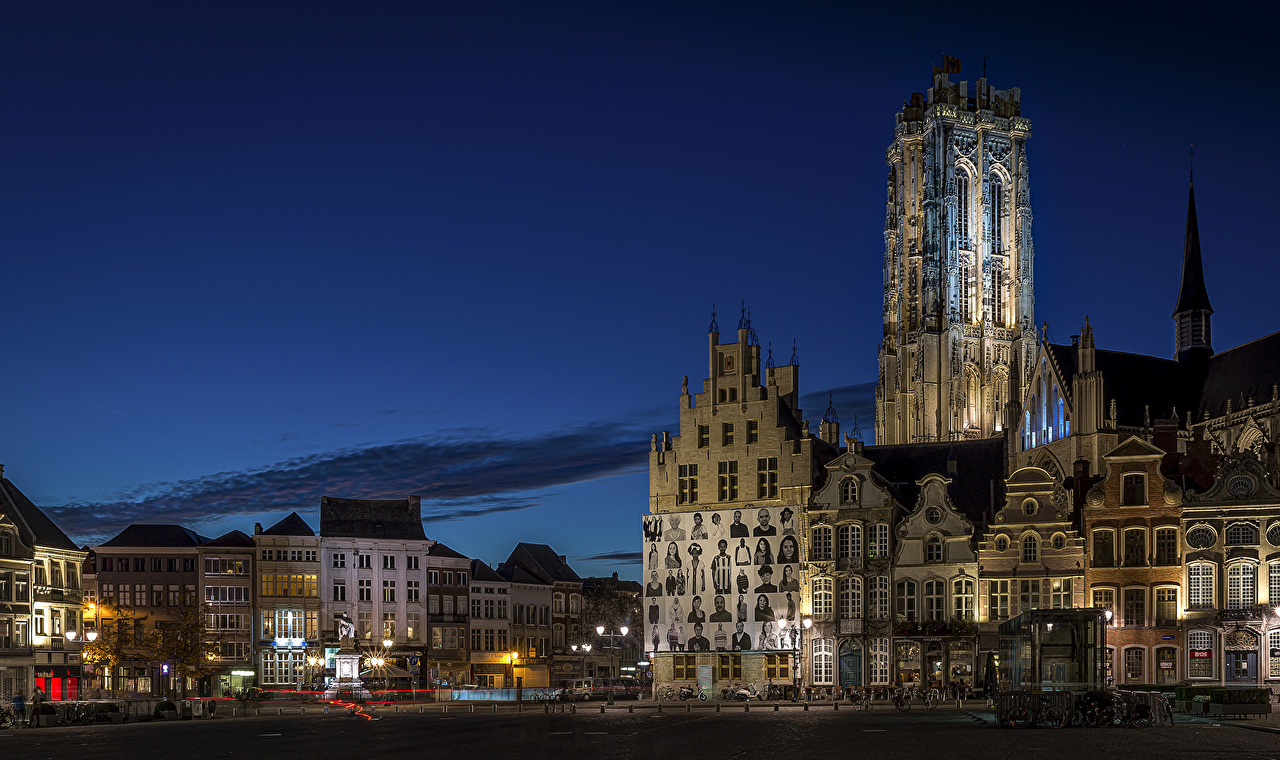 Desktop Wallpapers Belgium Mechelen Antwerp Street temple night time Street lights Cities Building Night Temples Houses