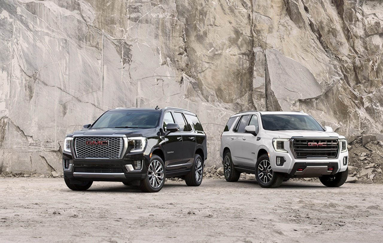 Images GMC SUV Yukon, Denali, AT4, 2020 Two Black White Cars Front Metallic General Motors Company Sport utility vehicle 2 auto automobile
