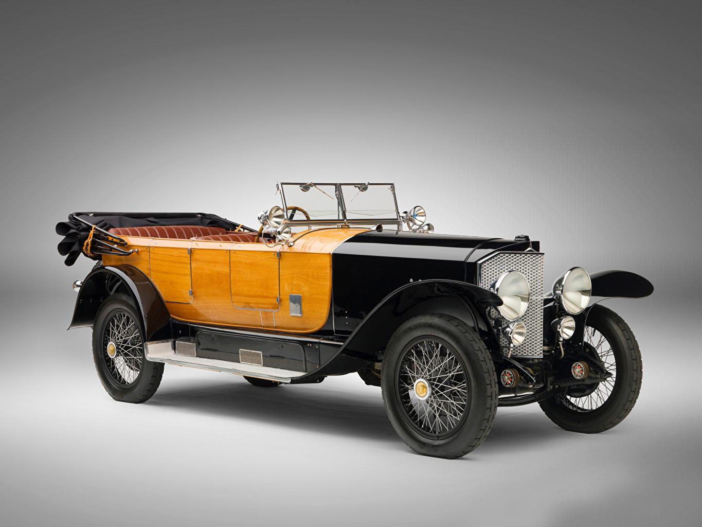 Pictures Mercedes-Benz 28/95 HP Sport Phaeton, 1924 Retro auto Gray background vintage antique Cars automobile