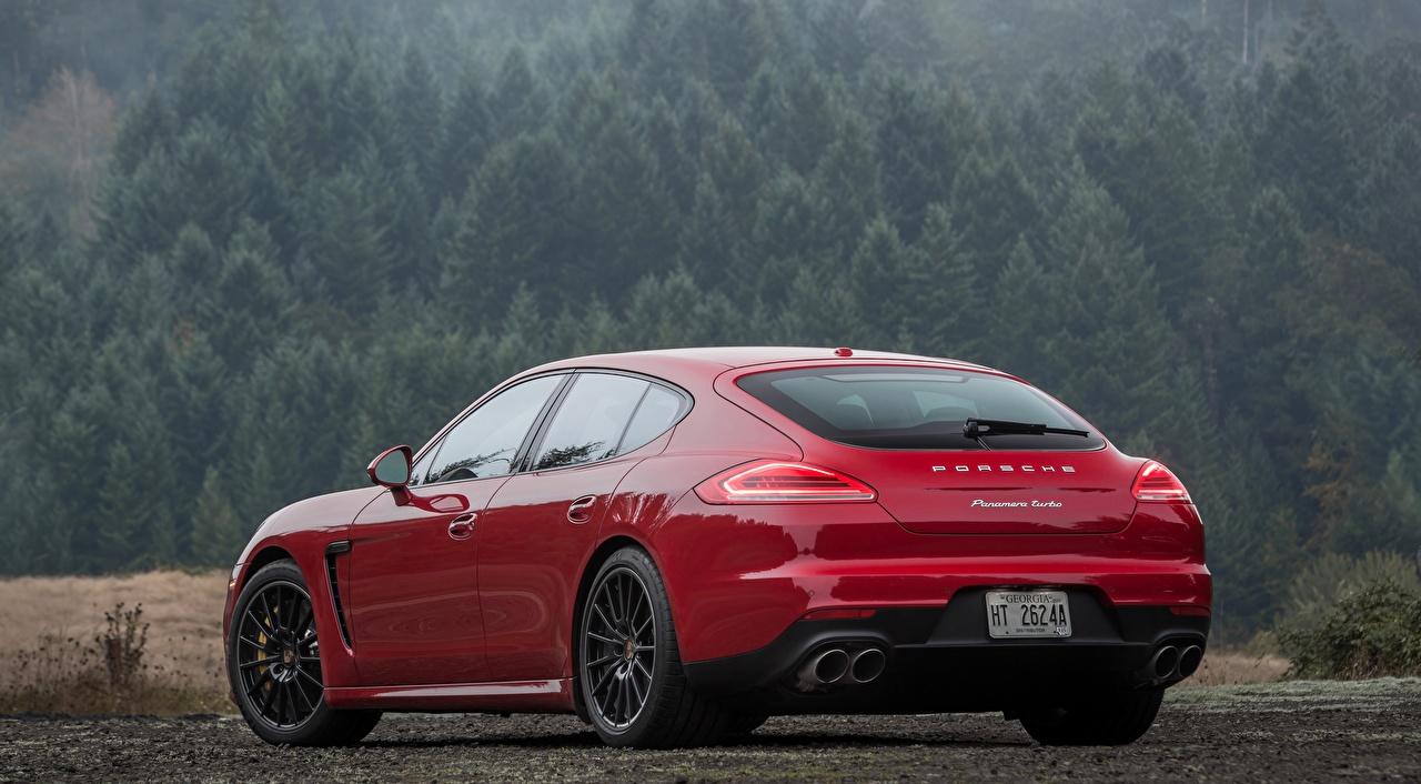 Images Porsche Hatchback, Panamera, Turbo, US-spec, 2013 Red Cars Back view auto automobile