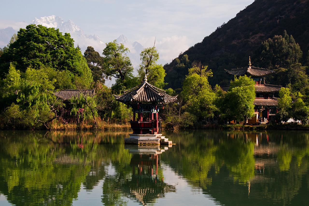 Photo China Lijiang Nature Parks Pagodas river Trees park Rivers