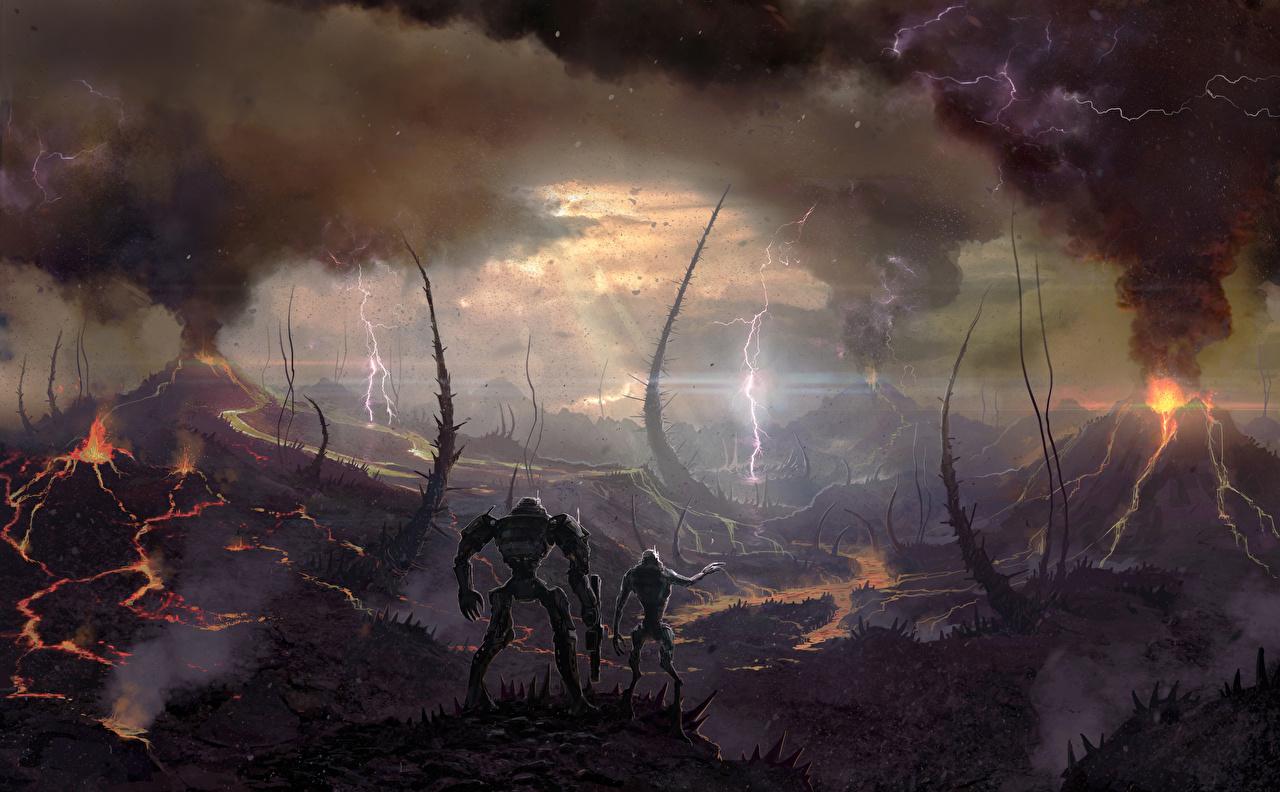 、幻想的な世界、Battle for Sularia、火山、雷、煙、��ンピュータゲーム、ゲーム、