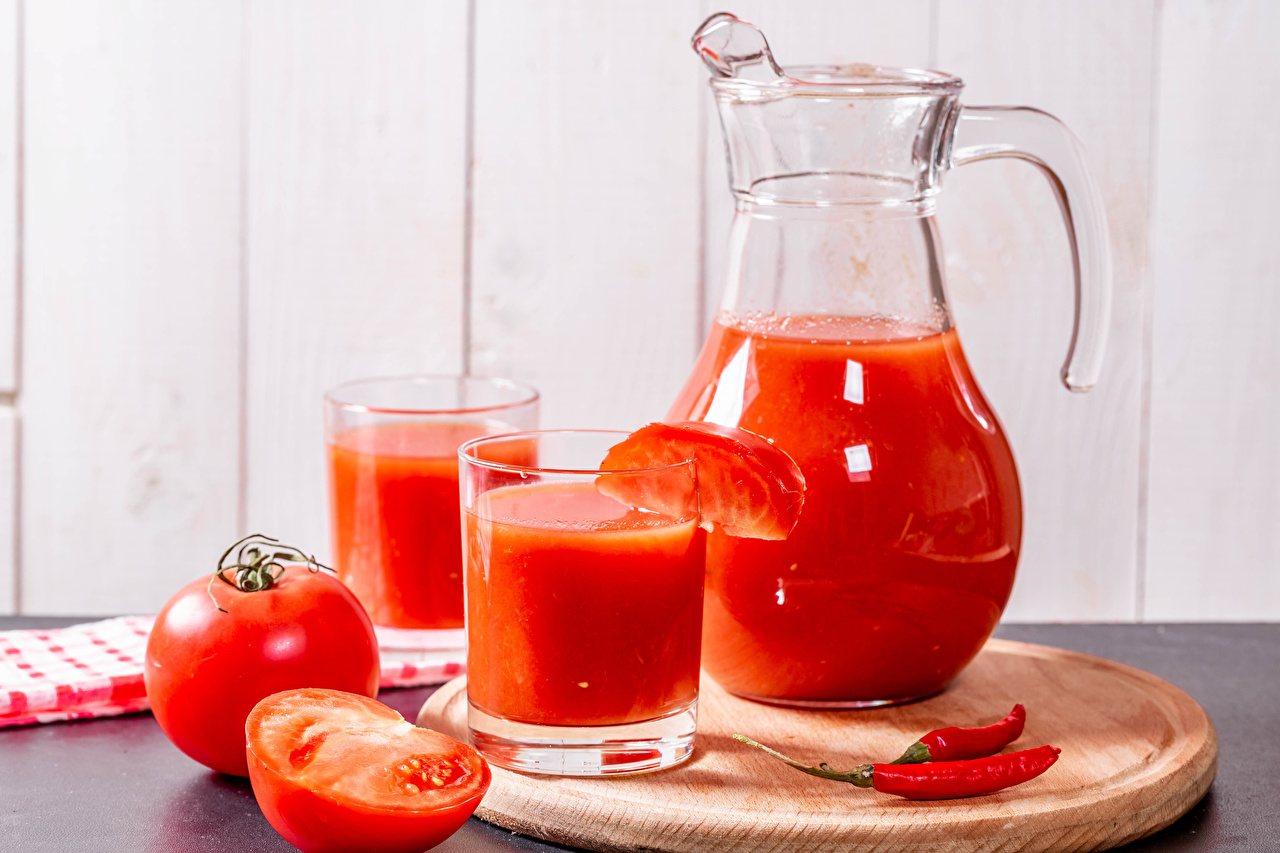 Wallpaper Juice Tomatoes Chili pepper Jug container Highball glass Food Cutting board jugs pitcher