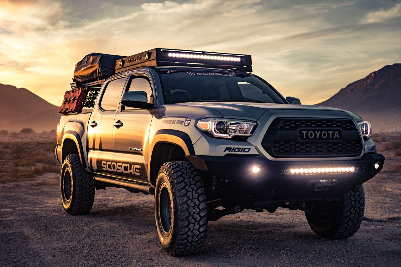 Wallpaper Toyota SUV Tacoma Custom Pickup Cars Front Sport utility vehicle auto automobile