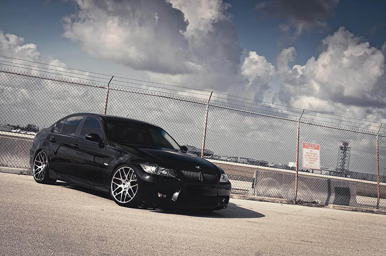 Image BMW 3 Series 335i Black automobile Clouds Cars auto