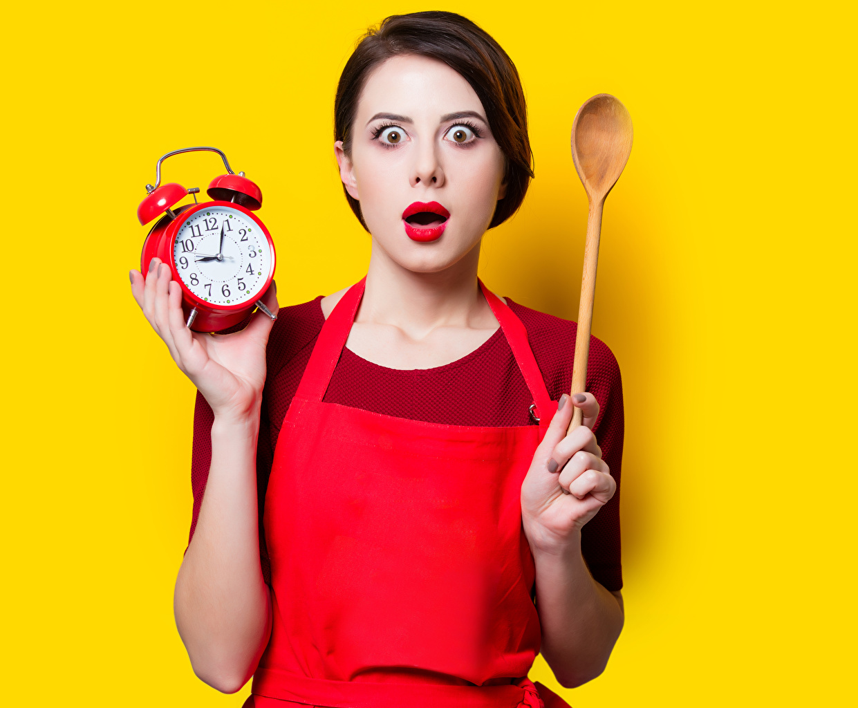 Wallpaper Brown haired Surprise emotion Girls Clock Alarm clock Spoon Colored background