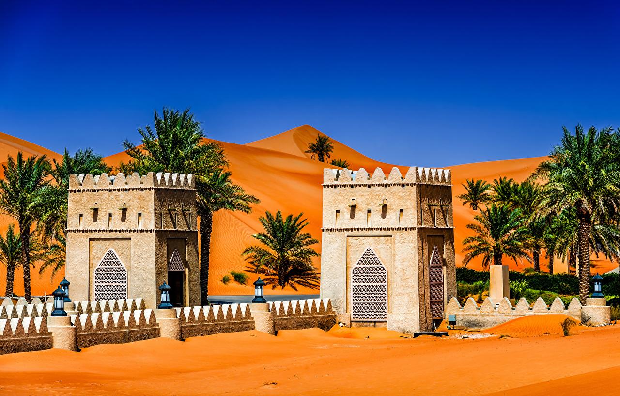 Images Emirates UAE Abu Dhabi Tropics palm trees temple Street lights Cities Palms Temples